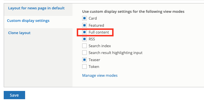 "Enabling the ""Full Content"" display mode"