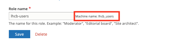 Picture indicating how to find a machine name of a role